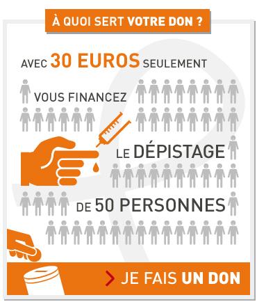 A quoi sert votre don ? Avec 30€, vous financez le dépistage de 50 personnes. Je fais un don.