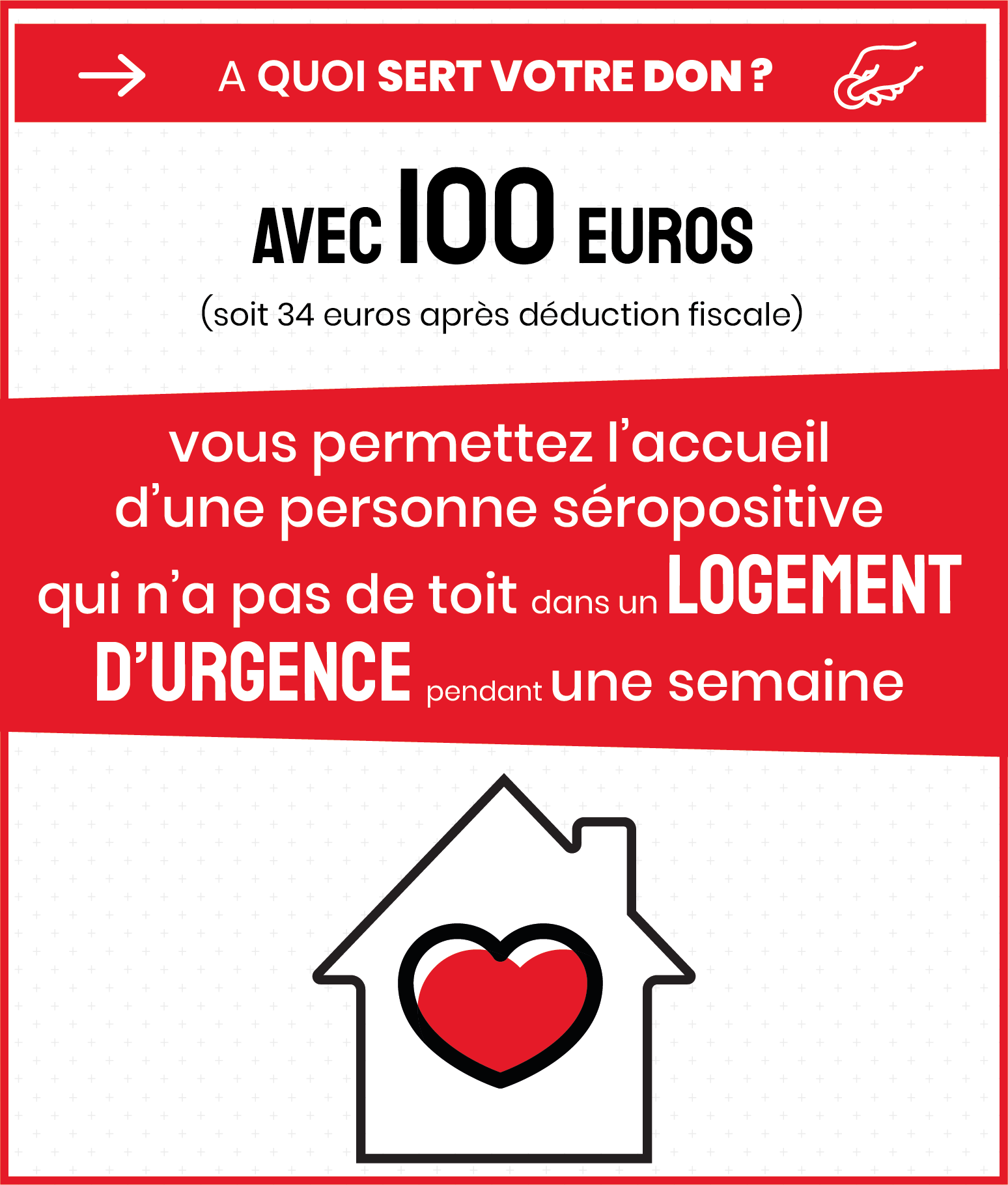 A quoi sert votre don ? Avec 100€, vous permettez l'accueil d'une personne séropositive dans un logement d'urgence