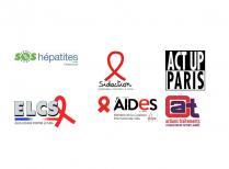 logos action traitements sidaction aides act-up paris sos hépatites élus locaux contre le sida